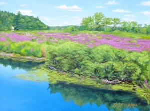 Purple Loosestrife, Medfield, MA oil by Rosemarie Morelli, professional artist and instructor.