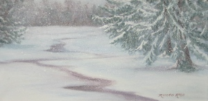 """""""Blizzard Juno 2015"""" Walpole, MA. oil, 12""""x24"""" Rosemarie Morelli.  A backyard winter scene painted en Plein air as viewed through my studio window and in alla prima during a 5-hour segment of the storm's afternoon light."""